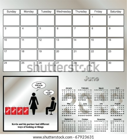 2012 Kevin series calendar for the month of June - stock vector