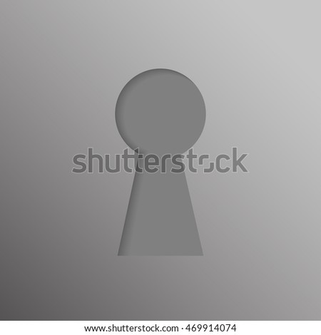 Keyhole icon with shadow, hole isolated on a white background, stylish vector illustration for web design.