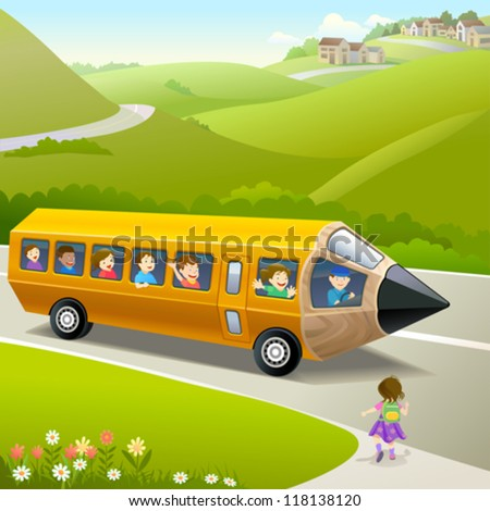Kids Going to School by Pencil Bus - stock vector