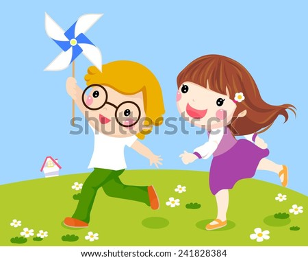 Kids Running Together Outside with Windmill  - stock vector