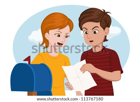 2 kids surprised while reading a letter