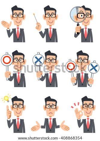 9 kinds of facial expressions and gestures of businessman with glasses - stock vector