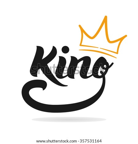 """""""King"""" logo template. Hand lettering. T-shirt graphics - stock vector"""