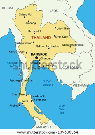 Kingdom of Thailand - vector map - stock vector