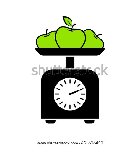 Kitchen Scale Vector Icon On White Stock Vector 650906041