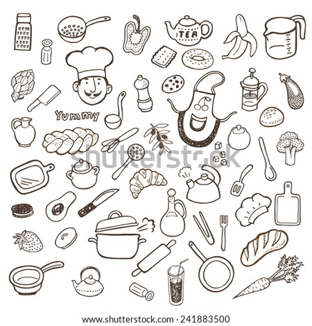 Kitchen utensils and food hand drawn sketch set - stock vector