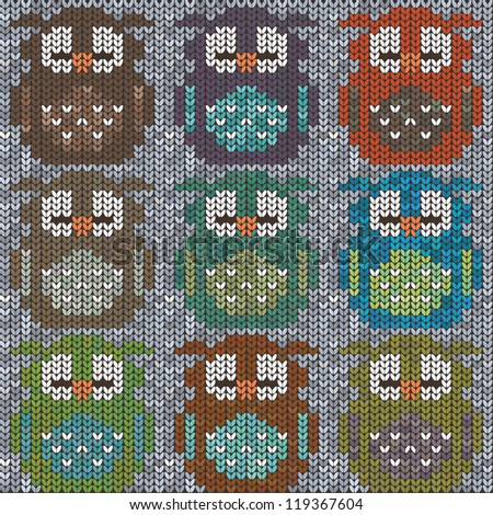 Knitted sweater with colorful owls. Seamless pattern