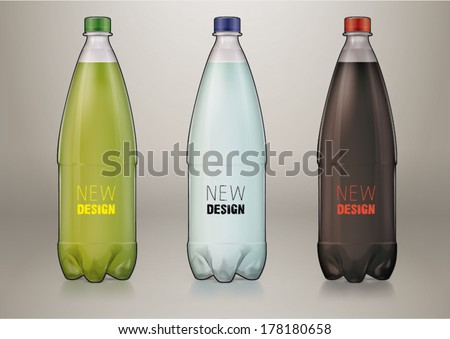 1 L transparent plastic bottle for new design. Sketch style - stock vector