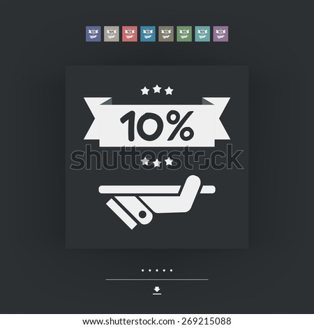 10% Label icon - stock vector