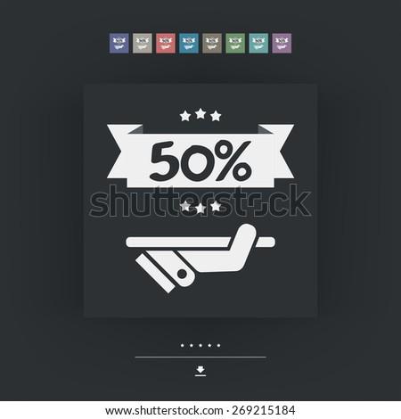 50% Label icon - stock vector