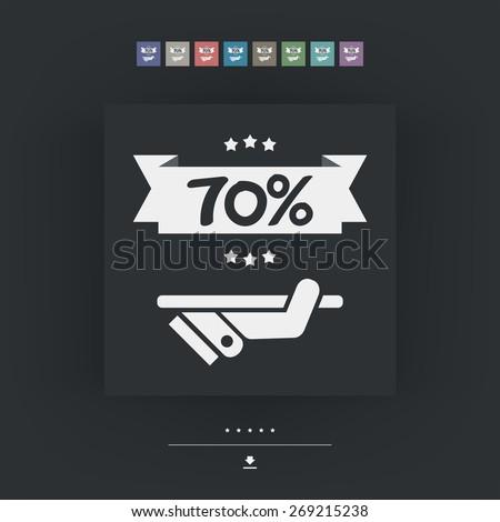 70% Label icon - stock vector