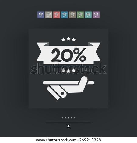 20% Label icon - stock vector