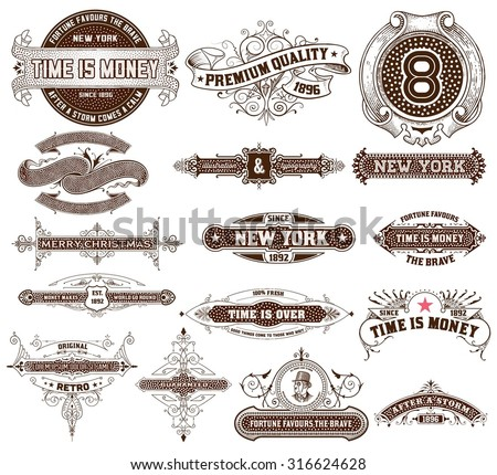 16 Labels and banners. Vector