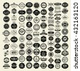 100 Labels and Logotypes design set. Retro Typography, Premium Quality design. Badges, Logos, Borders, Arrows, Ribbons, Icons.