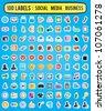 100 labels for social media business - vector labels - stock vector