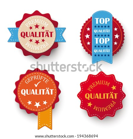 "4 labels with german text ""Premium, Qualitaet, Gepruefte"", translate ""Premium, Quality, Checked"". Eps 10 vector file. - stock vector"