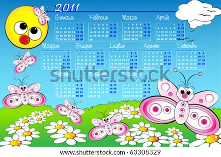 2011 Landscape Kid calendar with butterflies and daisies, Italian language