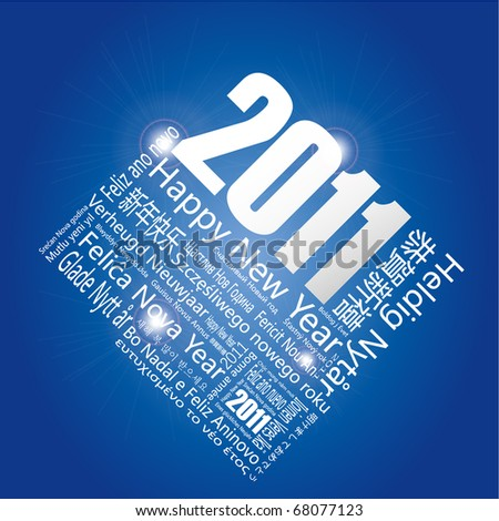 """28 languages said """"Happy New Year"""" in 2011.-Design and typography background. - stock vector"""