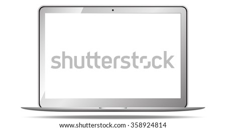 laptop with blank screen isolated on white  - stock vector