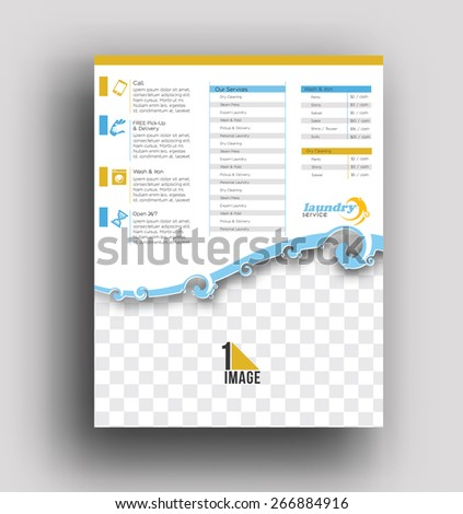 Laundry Service Back Flyer Poster Template Stock Vector 266884916