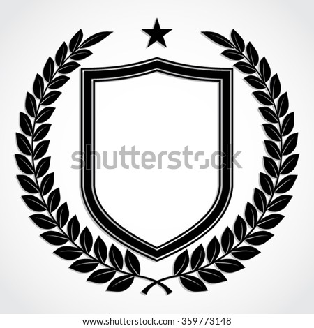 laurel wreath with shield / silhouette vector illustration - stock vector