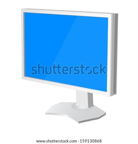 lcd tv  monitor on white background. Vector illustration  - stock vector