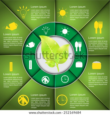 Leaf Icon With Agriculture Icon & Text  Text Infomation Design, Green Diagram Circle Design, Agriculture Infographics, Ecology Business Template. - stock vector