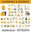 50 Learning Symbols - stock photo