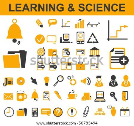 50 Learning Symbols - stock vector