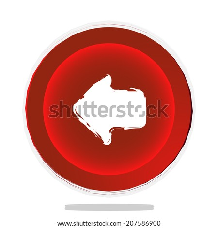 left arrow button red vector illustration