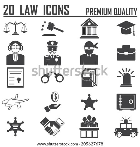 20 Legal, law and justice icon set - stock vector
