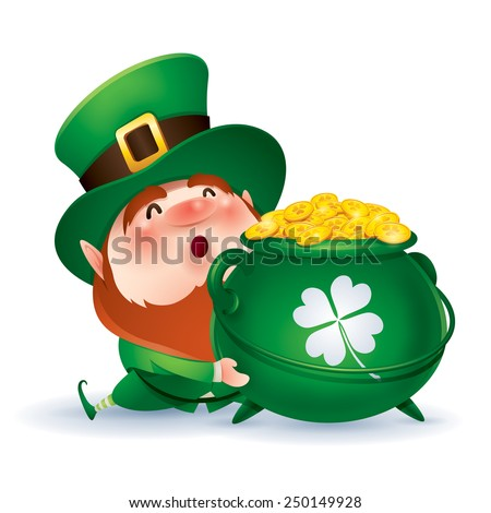 Leprechaun holding a pot of gold - stock vector