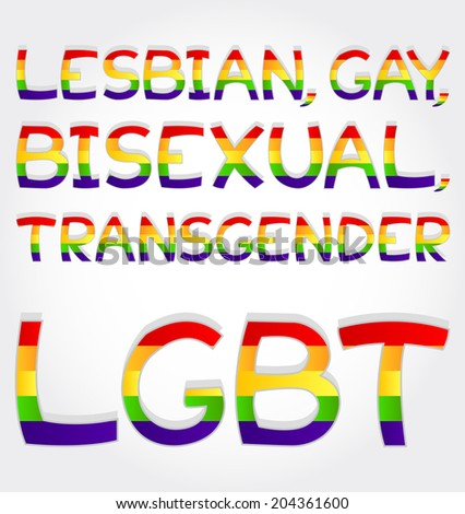 """Lesbian, gay, bisexual, transgender, lgbt"" phrase stylized with rainbow - stock vector"
