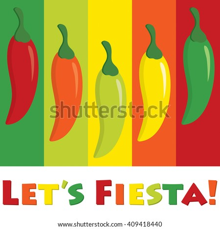 """Let's Fiesta!"" (Let's Party) chilli pepper card in vector format. - stock vector"