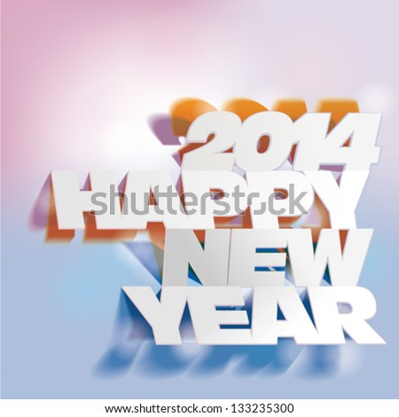2014:  Letter Folding with Paper, Happy New Year - stock vector