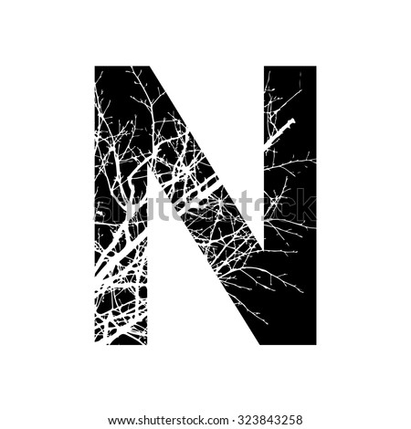 N Alphabet Design ... combined with photograph of nature. Letters alphabet. - stock vector