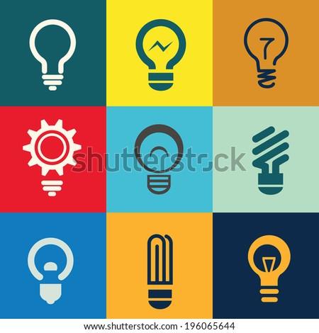 light bulb icons set - stock vector