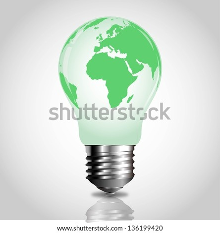 Light bulb with green world map
