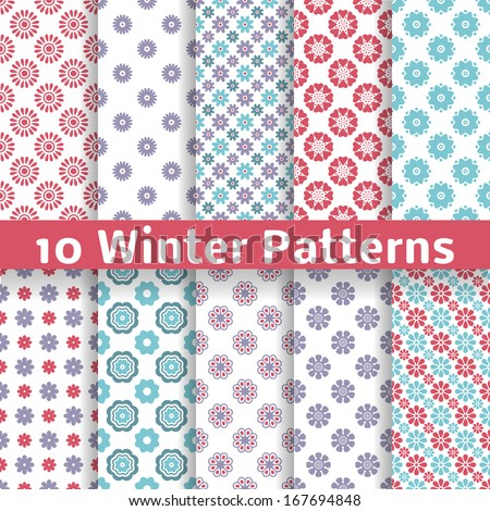 10 Light winter romantic vector patterns (tiling). Shabby chic red, white and blue colors. Snowflakes background. Abstract flower seamless wallpaper. Beautiful and elegant flakes. - stock vector
