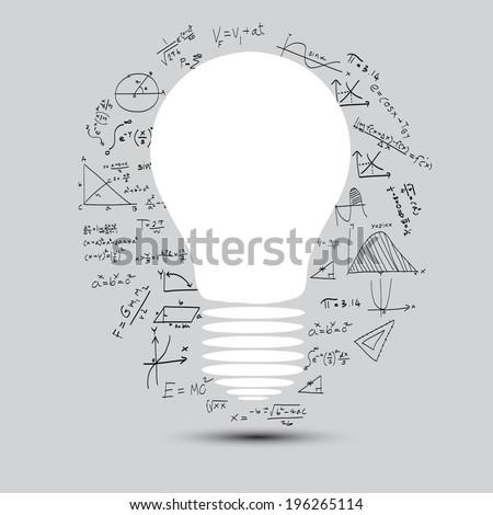 lightbulb with math calculations vector illustration - stock vector