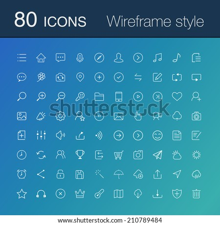 80 line icon set. simple icons for Web and Mobile.Wireframe style - stock vector