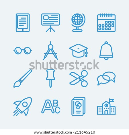 16 Line icons for Education school.Vector EPS10  - stock vector