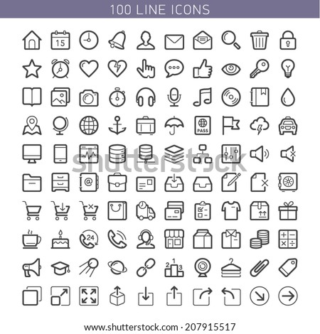 100 line icons for Web and Mobile. Light version