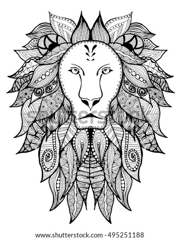 Coloring page mandala lion head animal stock vector for Lion mandala coloring pages