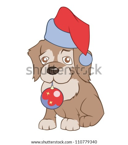 Little puppy in Santa�s hat is holding Christmas decoration - stock vector