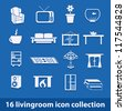 16 living room icons collection - stock vector