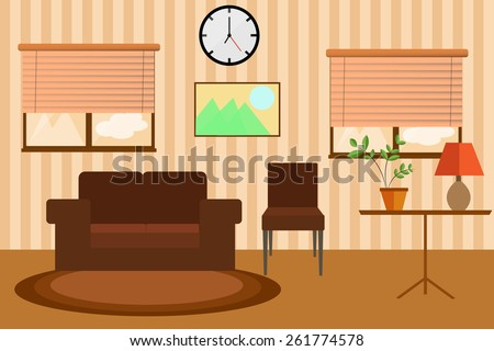 Living Room Windows Sofa And Clock In Warm Colors