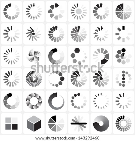 36 load indicators set - stock vector
