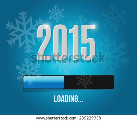 2015 loading year bar illustration design over a blue snowflakes background - stock vector
