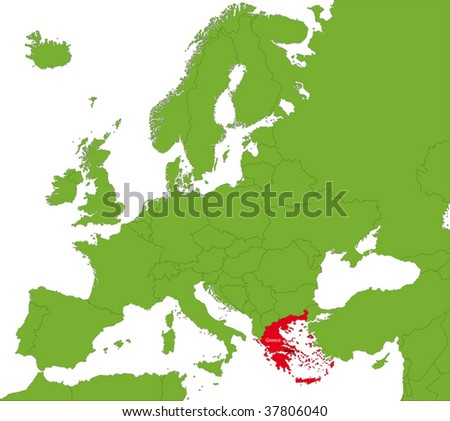 Location of Greece on the Europa continent - stock vector